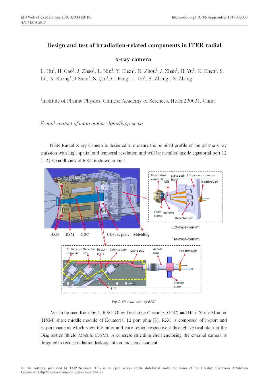 Design And Test Of Irradiation Related Components In Iter Radial X Ray Block Diagram First Page The Article
